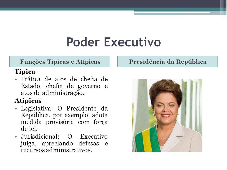 Poder Executivo Funções Típicas e AtípicasPresidência da República Típica Prática de atos de chefia de Estado, chefia de governo e atos de administraç
