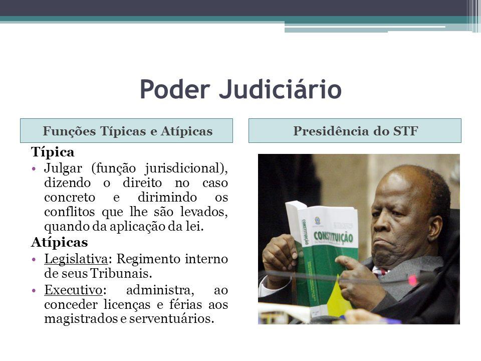 Poder Judiciário Funções Típicas e AtípicasPresidência do STF Típica Julgar (função jurisdicional), dizendo o direito no caso concreto e dirimindo os