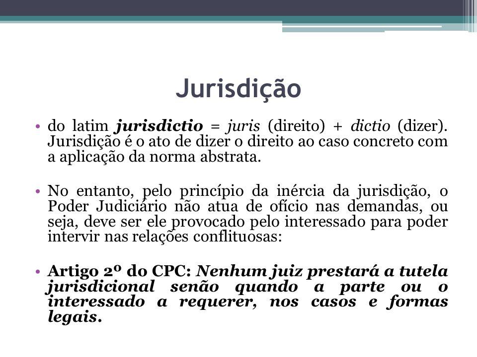Jurisdição do latim jurisdictio = juris (direito) + dictio (dizer). Jurisdição é o ato de dizer o direito ao caso concreto com a aplicação da norma ab