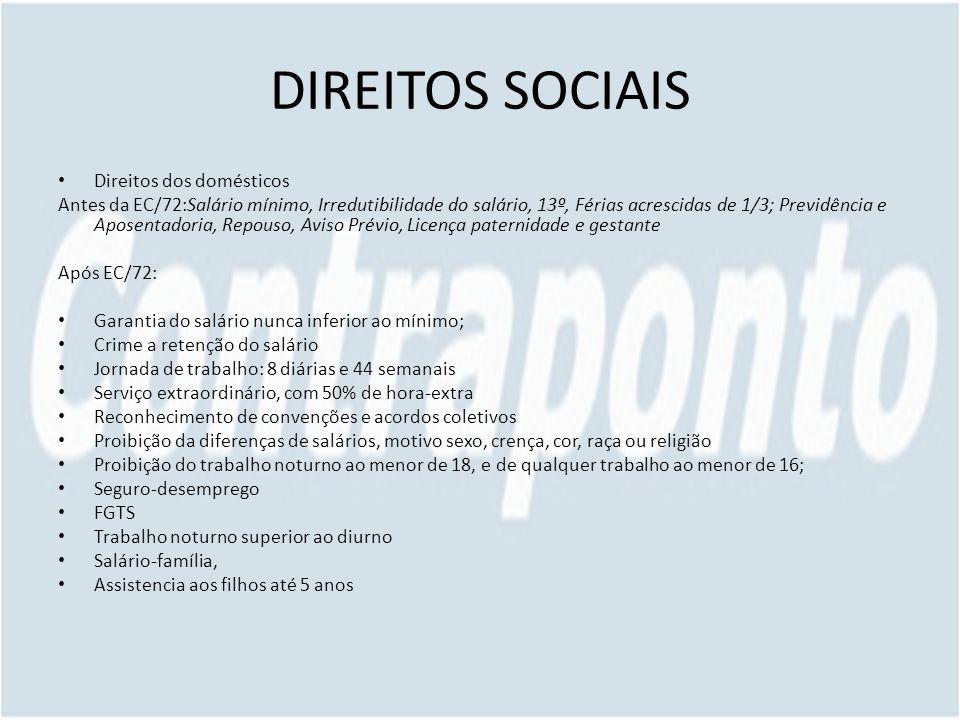 DIREITOS SOCIAIS Direitos dos domésticos Antes da EC/72:Salário mínimo, Irredutibilidade do salário, 13º, Férias acrescidas de 1/3; Previdência e Apos