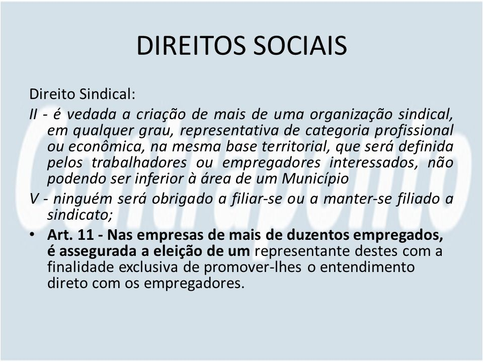 DIREITOS SOCIAIS Direito Sindical: II - é vedada a criação de mais de uma organização sindical, em qualquer grau, representativa de categoria profissi