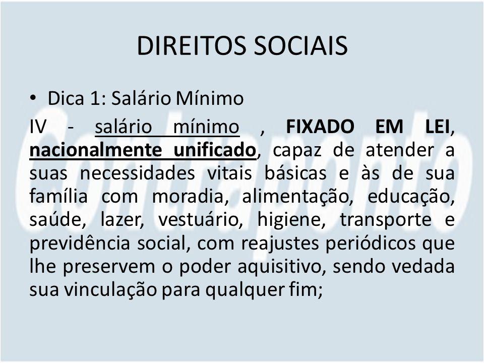 DIREITOS SOCIAIS Dica 1: Salário Mínimo IV - salário mínimo, FIXADO EM LEI, nacionalmente unificado, capaz de atender a suas necessidades vitais básic