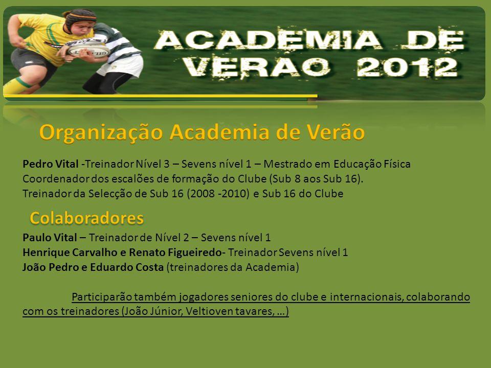 Pedro Vital -Treinador Nível 3 – Sevens nível 1 – Mestrado em Educação Física Coordenador dos escalões de formação do Clube (Sub 8 aos Sub 16). Treina
