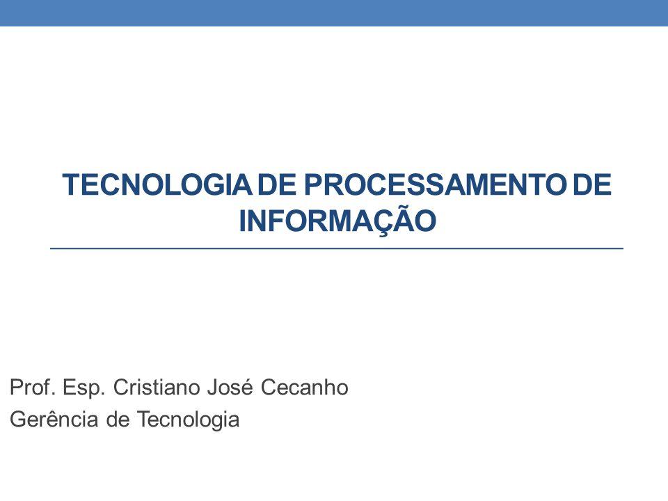 TECNOLOGIA DE PROCESSAMENTO DE INFORMAÇÃO Prof. Esp. Cristiano José Cecanho Gerência de Tecnologia