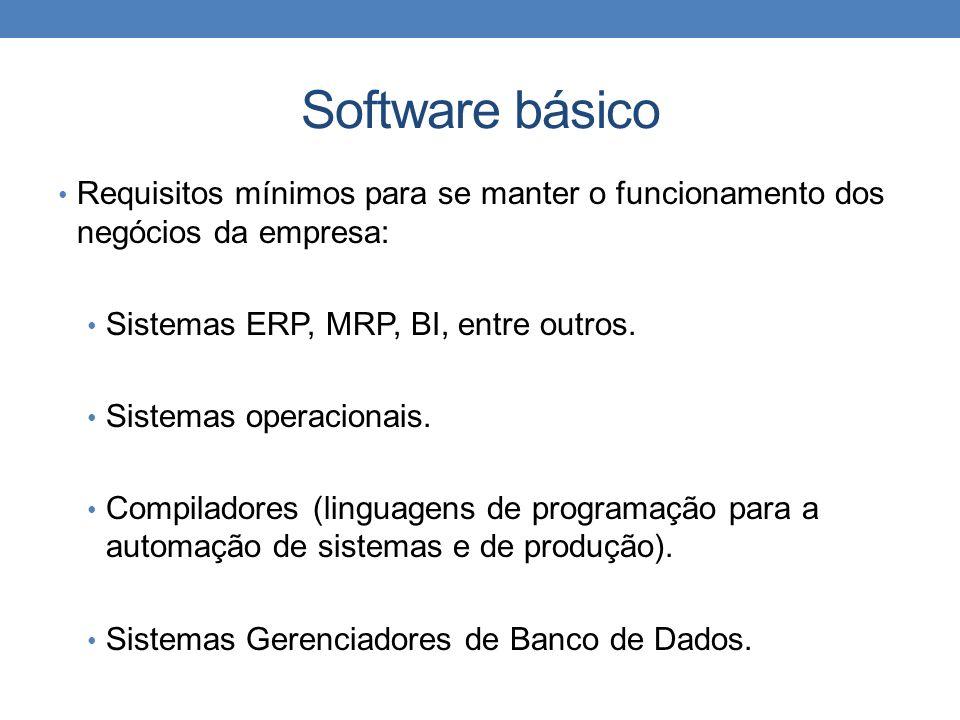 Software básico Requisitos mínimos para se manter o funcionamento dos negócios da empresa: Sistemas ERP, MRP, BI, entre outros. Sistemas operacionais.