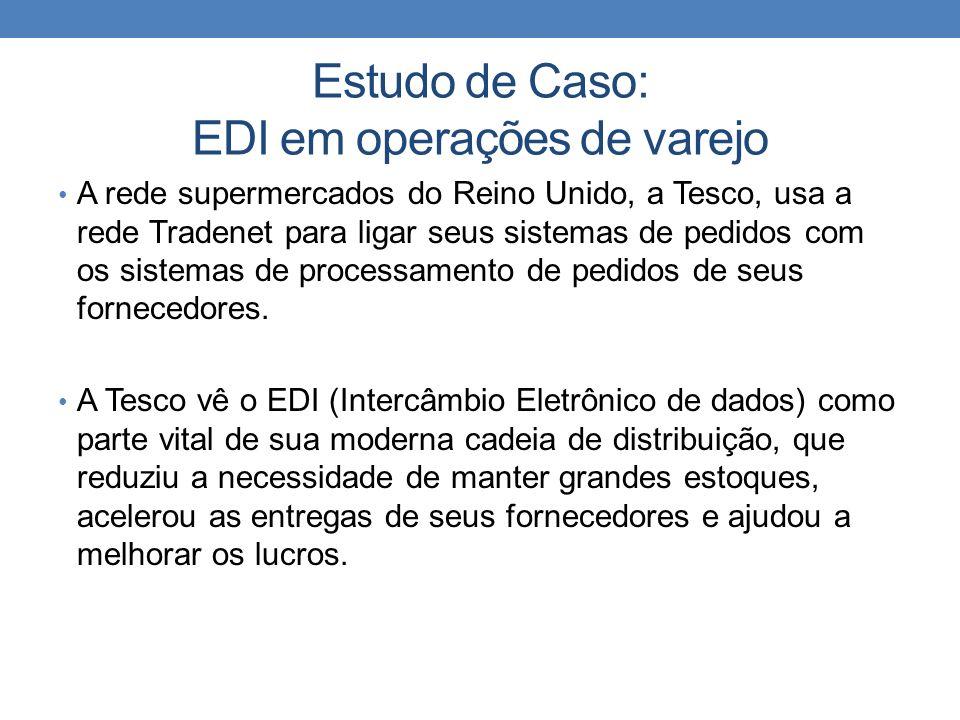 Estudo de Caso: EDI em operações de varejo A rede supermercados do Reino Unido, a Tesco, usa a rede Tradenet para ligar seus sistemas de pedidos com o