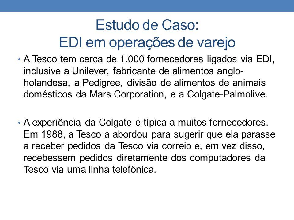 Estudo de Caso: EDI em operações de varejo A Tesco tem cerca de 1.000 fornecedores ligados via EDI, inclusive a Unilever, fabricante de alimentos angl