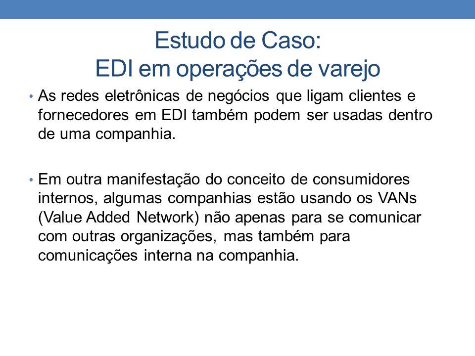 Estudo de Caso: EDI em operações de varejo As redes eletrônicas de negócios que ligam clientes e fornecedores em EDI também podem ser usadas dentro de