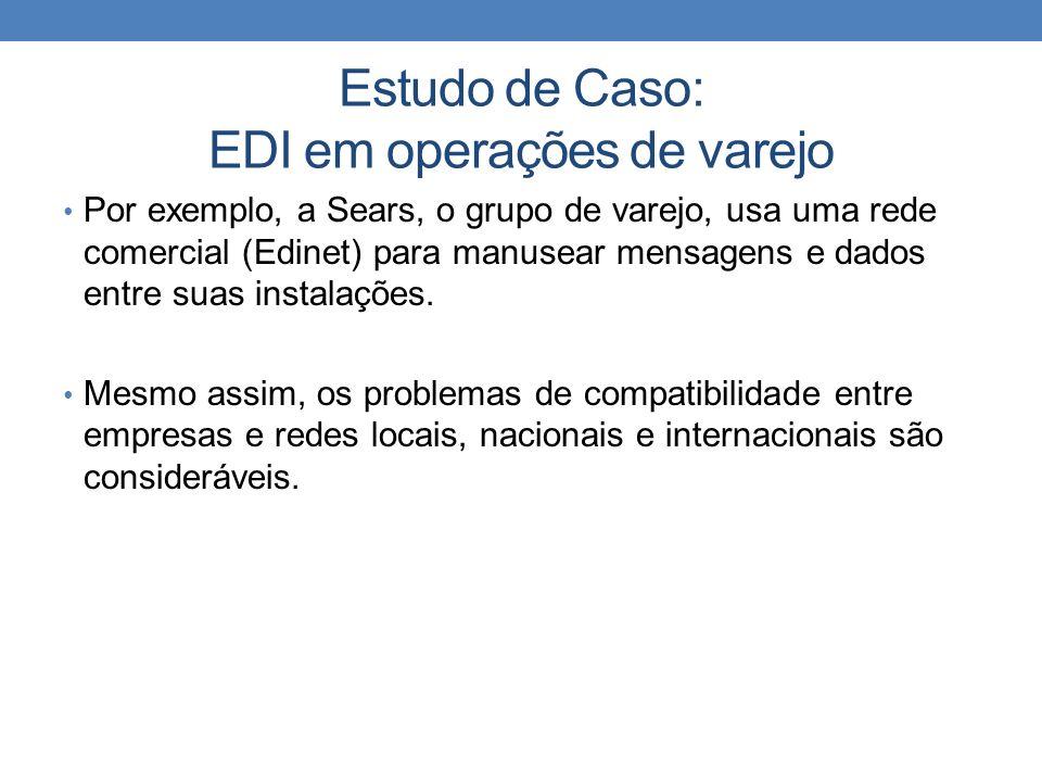 Estudo de Caso: EDI em operações de varejo Por exemplo, a Sears, o grupo de varejo, usa uma rede comercial (Edinet) para manusear mensagens e dados en
