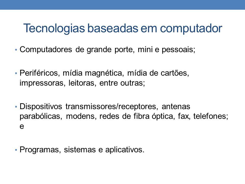Tecnologias baseadas em computador Computadores de grande porte, mini e pessoais; Periféricos, mídia magnética, mídia de cartões, impressoras, leitora