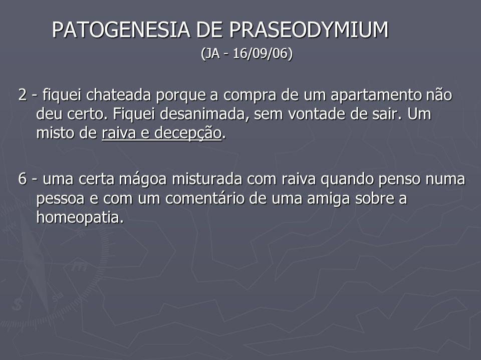 PATOGENESIA DE PRASEODYMIUM PATOGENESIA DE PRASEODYMIUM (JA - 16/09/06) (JA - 16/09/06) 2 - fiquei chateada porque a compra de um apartamento não deu