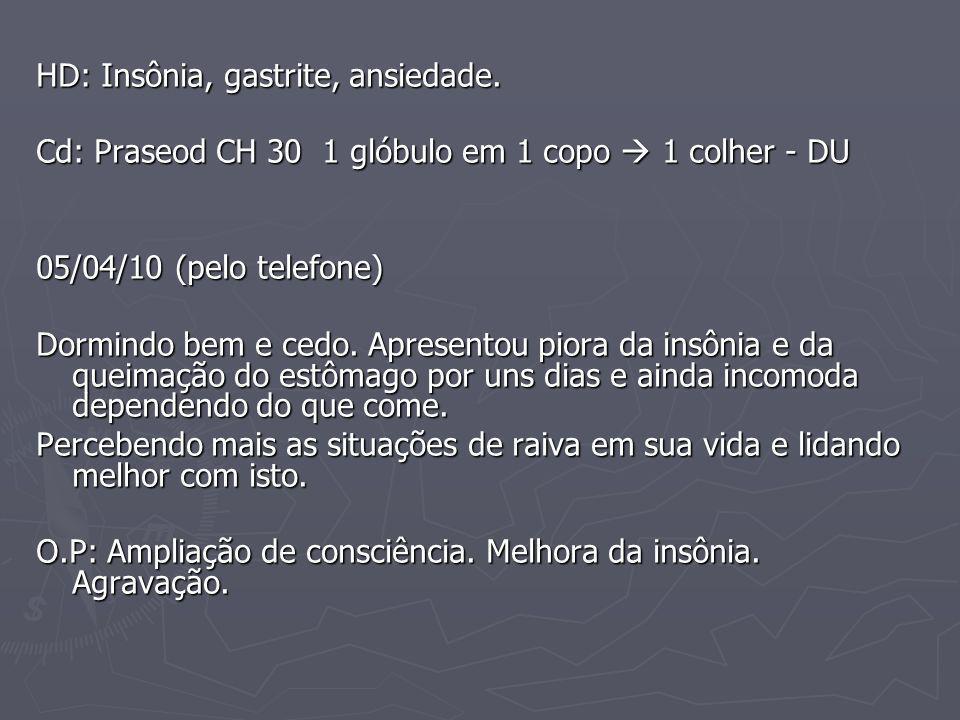 HD: Insônia, gastrite, ansiedade. Cd: Praseod CH 30 1 glóbulo em 1 copo 1 colher - DU 05/04/10 (pelo telefone) Dormindo bem e cedo. Apresentou piora d