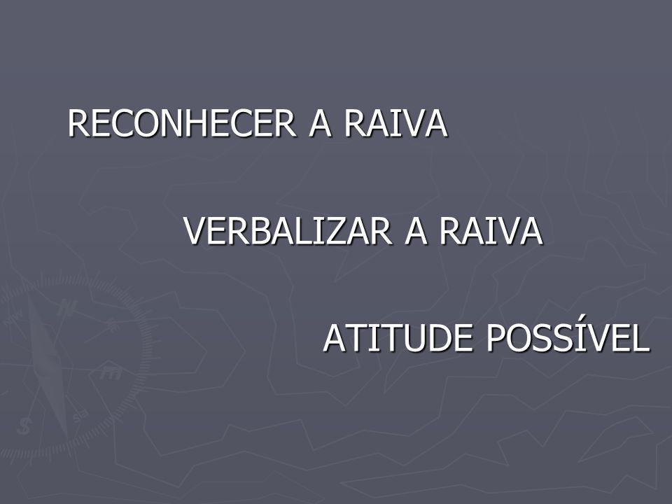 RECONHECER A RAIVA RECONHECER A RAIVA VERBALIZAR A RAIVA VERBALIZAR A RAIVA ATITUDE POSSÍVEL ATITUDE POSSÍVEL