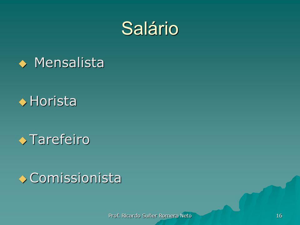 Salário Mensalista Mensalista Horista Horista Tarefeiro Tarefeiro Comissionista Comissionista Prof. Ricardo Suñer Romera Neto 16