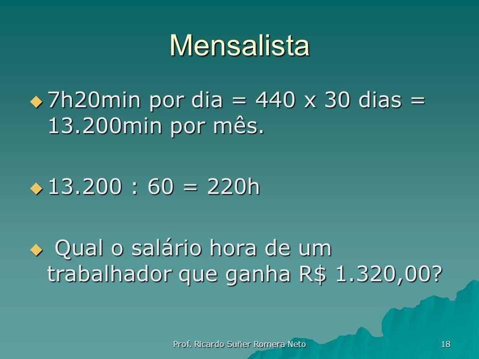 Mensalista 7h20min por dia = 440 x 30 dias = 13.200min por mês. 7h20min por dia = 440 x 30 dias = 13.200min por mês. 13.200 : 60 = 220h 13.200 : 60 =