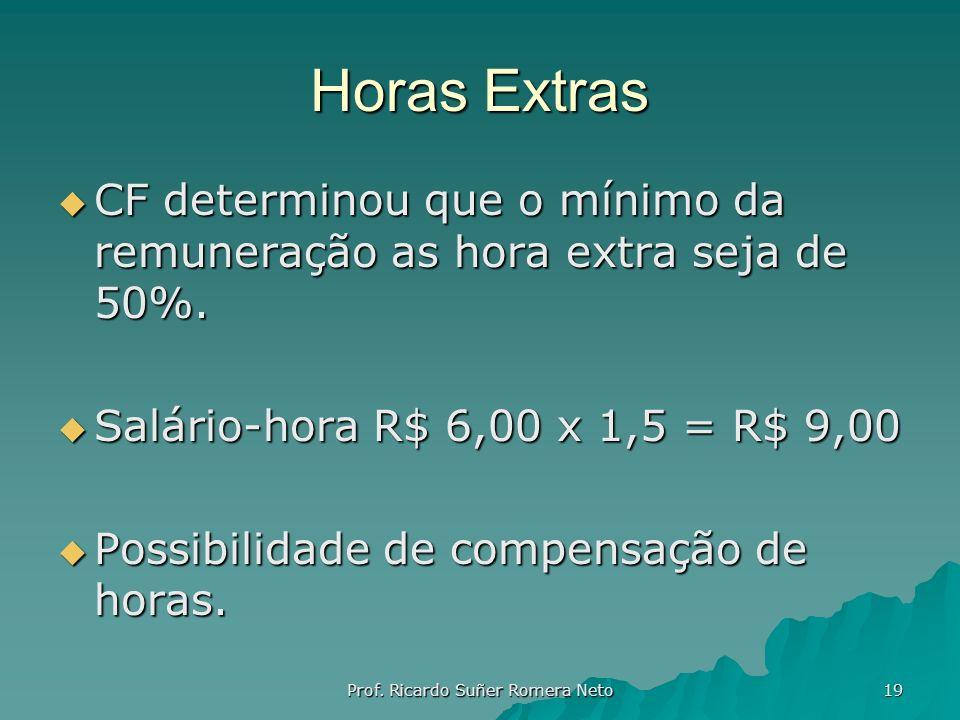 Horas Extras CF determinou que o mínimo da remuneração as hora extra seja de 50%. CF determinou que o mínimo da remuneração as hora extra seja de 50%.
