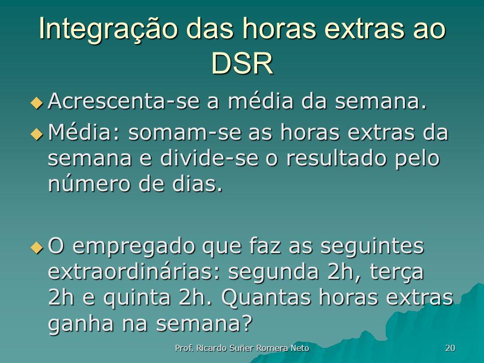 Integração das horas extras ao DSR Acrescenta-se a média da semana. Acrescenta-se a média da semana. Média: somam-se as horas extras da semana e divid
