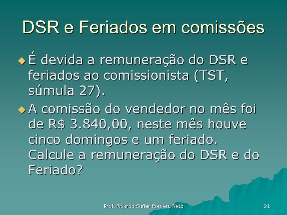 DSR e Feriados em comissões É devida a remuneração do DSR e feriados ao comissionista (TST, súmula 27). É devida a remuneração do DSR e feriados ao co