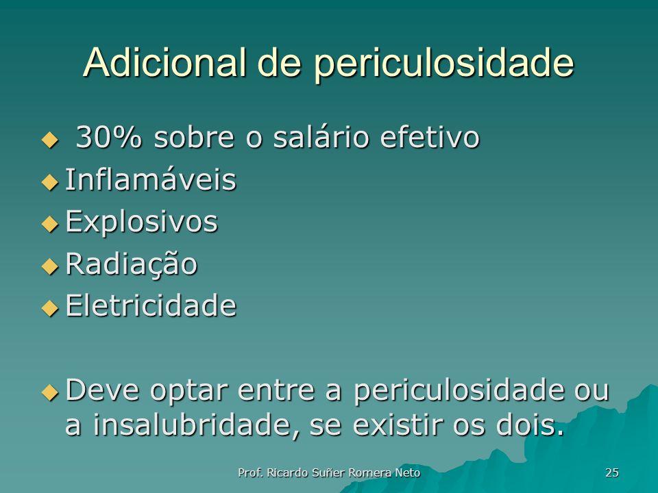 Adicional de periculosidade 30% sobre o salário efetivo 30% sobre o salário efetivo Inflamáveis Inflamáveis Explosivos Explosivos Radiação Radiação El