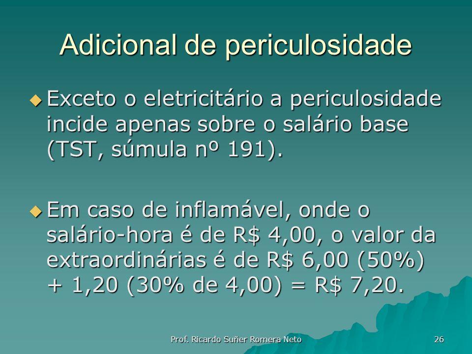 Adicional de periculosidade Exceto o eletricitário a periculosidade incide apenas sobre o salário base (TST, súmula nº 191). Exceto o eletricitário a