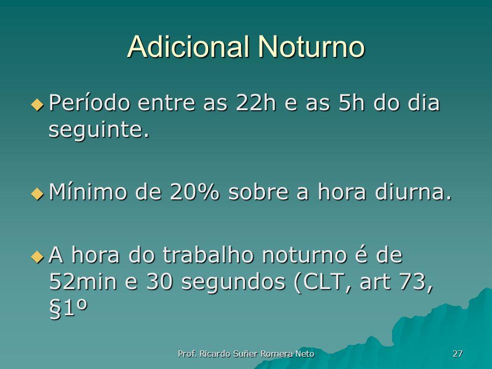 Adicional Noturno Período entre as 22h e as 5h do dia seguinte. Período entre as 22h e as 5h do dia seguinte. Mínimo de 20% sobre a hora diurna. Mínim