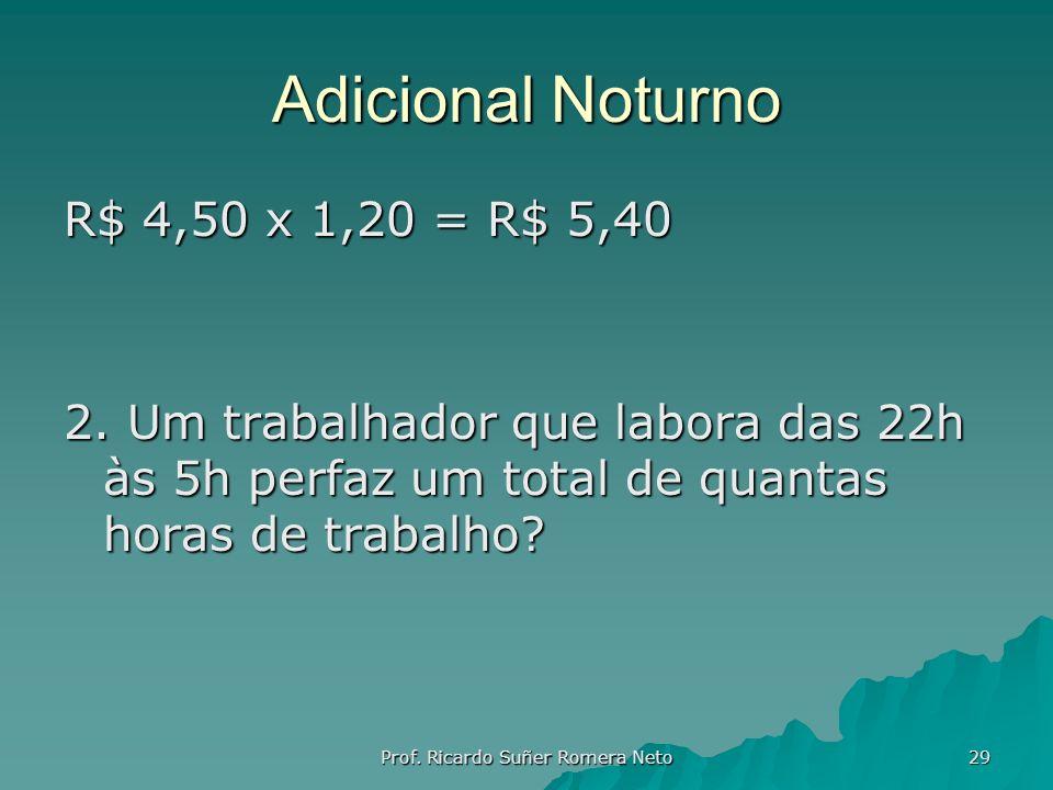 Adicional Noturno R$ 4,50 x 1,20 = R$ 5,40 2. Um trabalhador que labora das 22h às 5h perfaz um total de quantas horas de trabalho? Prof. Ricardo Suñe