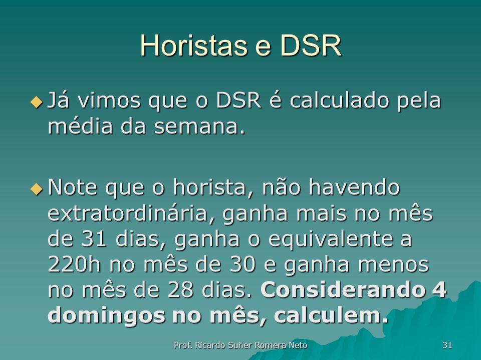 Horistas e DSR Já vimos que o DSR é calculado pela média da semana. Já vimos que o DSR é calculado pela média da semana. Note que o horista, não haven