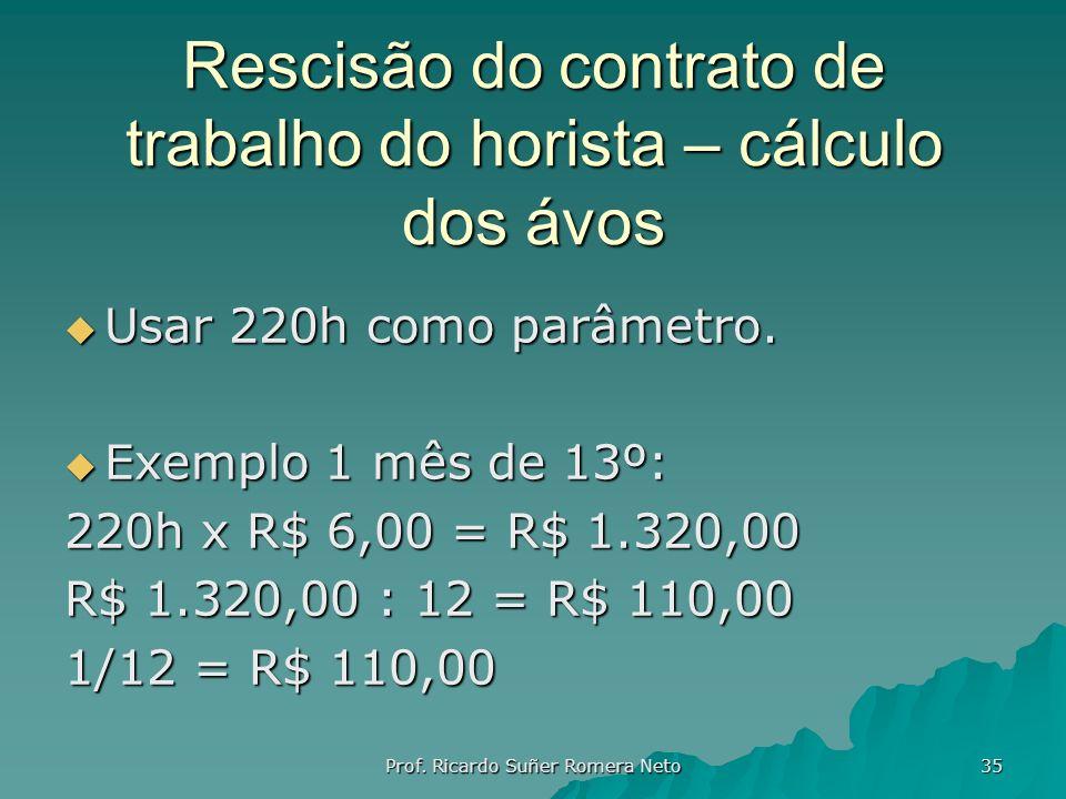 Rescisão do contrato de trabalho do horista – cálculo dos ávos Usar 220h como parâmetro. Usar 220h como parâmetro. Exemplo 1 mês de 13º: Exemplo 1 mês