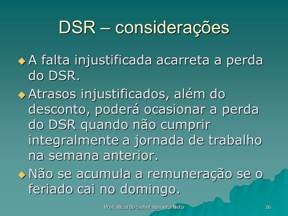 DSR – considerações A falta injustificada acarreta a perda do DSR. A falta injustificada acarreta a perda do DSR. Atrasos injustificados, além do desc