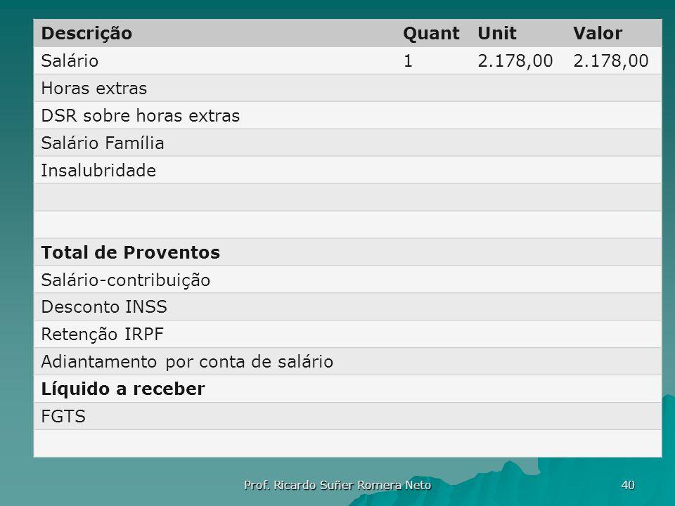 DescriçãoQuantUnitValor Salário12.178,00 Horas extras DSR sobre horas extras Salário Família Insalubridade Total de Proventos Salário-contribuição Des