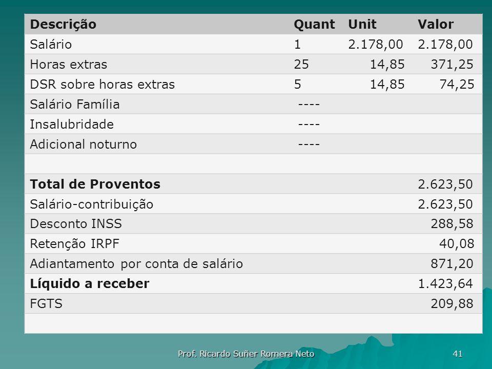 DescriçãoQuantUnitValor Salário12.178,00 Horas extras25 14,85 371,25 DSR sobre horas extras5 14,85 74,25 Salário Família ---- Insalubridade ---- Adici