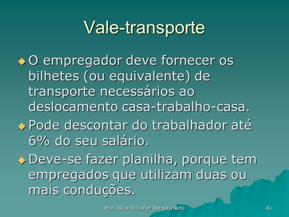 Vale-transporte O empregador deve fornecer os bilhetes (ou equivalente) de transporte necessários ao deslocamento casa-trabalho-casa. O empregador dev