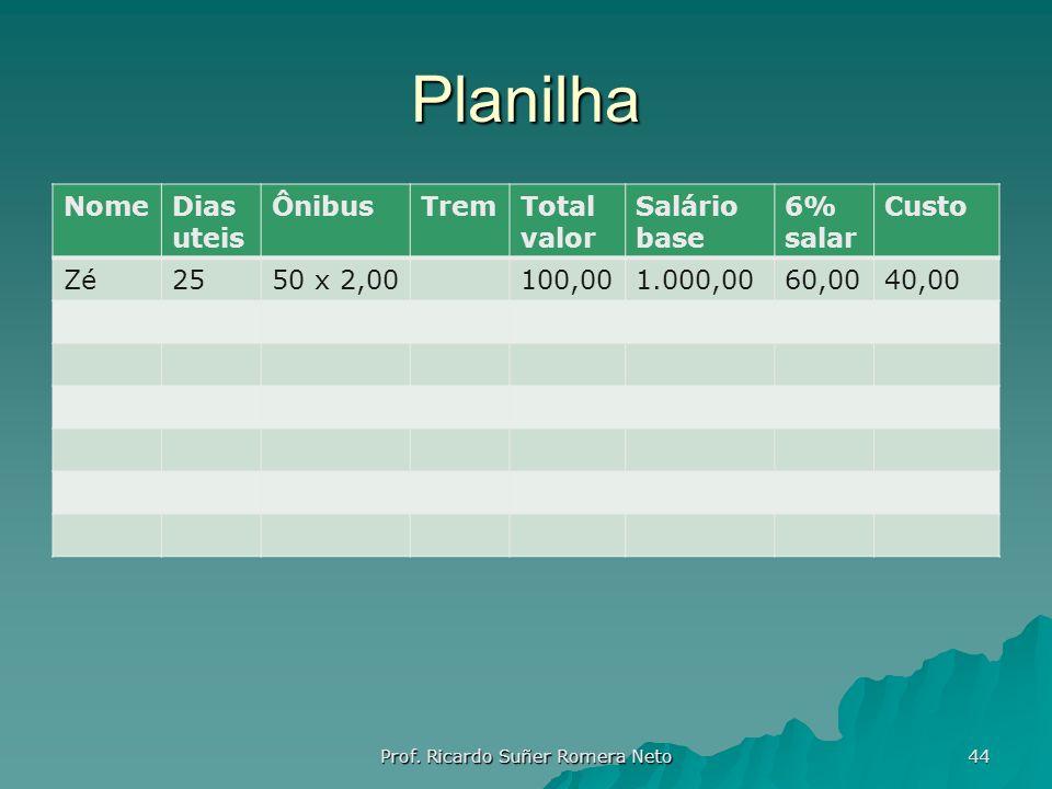 Planilha NomeDias uteis ÔnibusTremTotal valor Salário base 6% salar Custo Zé2550 x 2,00100,001.000,0060,0040,00 Prof. Ricardo Suñer Romera Neto 44