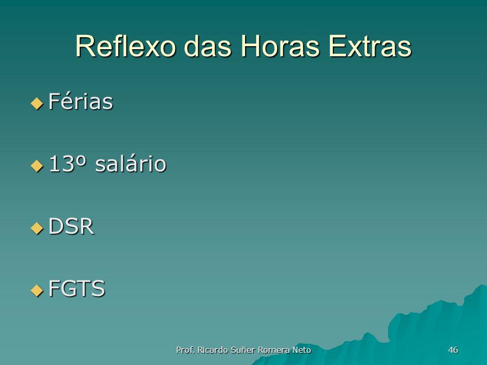 Reflexo das Horas Extras Férias Férias 13º salário 13º salário DSR DSR FGTS FGTS Prof. Ricardo Suñer Romera Neto 46
