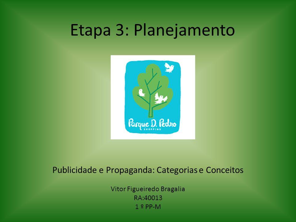 Etapa 3: Planejamento Publicidade e Propaganda: Categorias e Conceitos Vitor Figueiredo Bragalia RA:40013 1 º PP-M