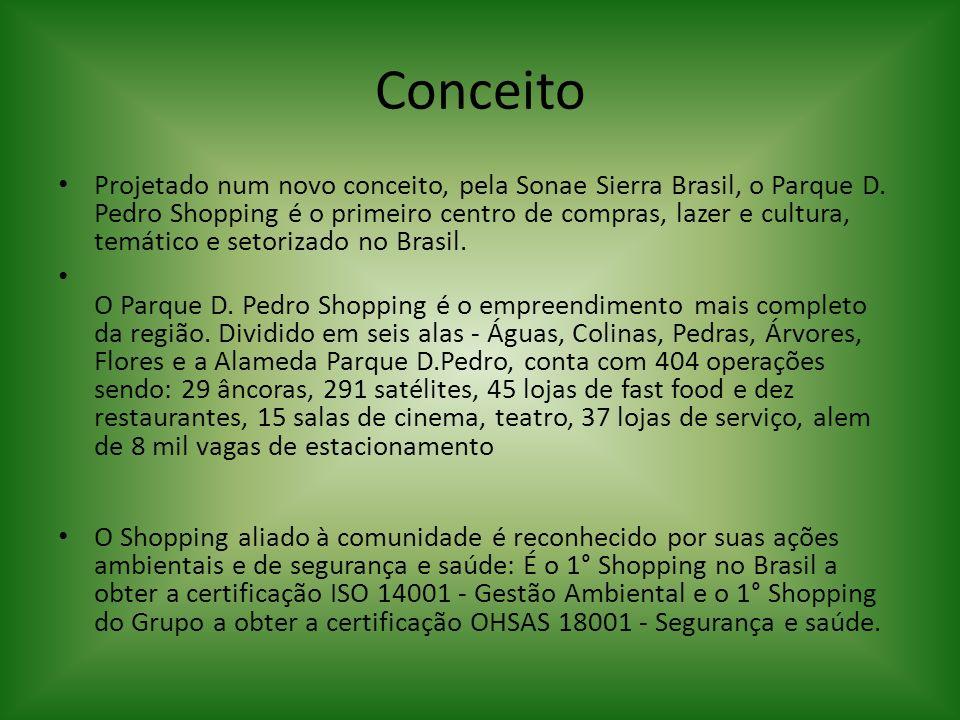 Conceito Projetado num novo conceito, pela Sonae Sierra Brasil, o Parque D. Pedro Shopping é o primeiro centro de compras, lazer e cultura, temático e