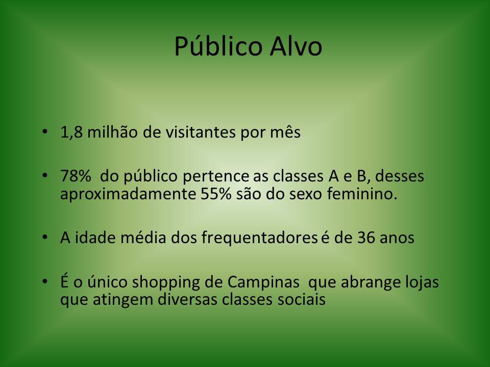 Público Alvo 1,8 milhão de visitantes por mês 78% do público pertence as classes A e B, desses aproximadamente 55% são do sexo feminino. A idade média