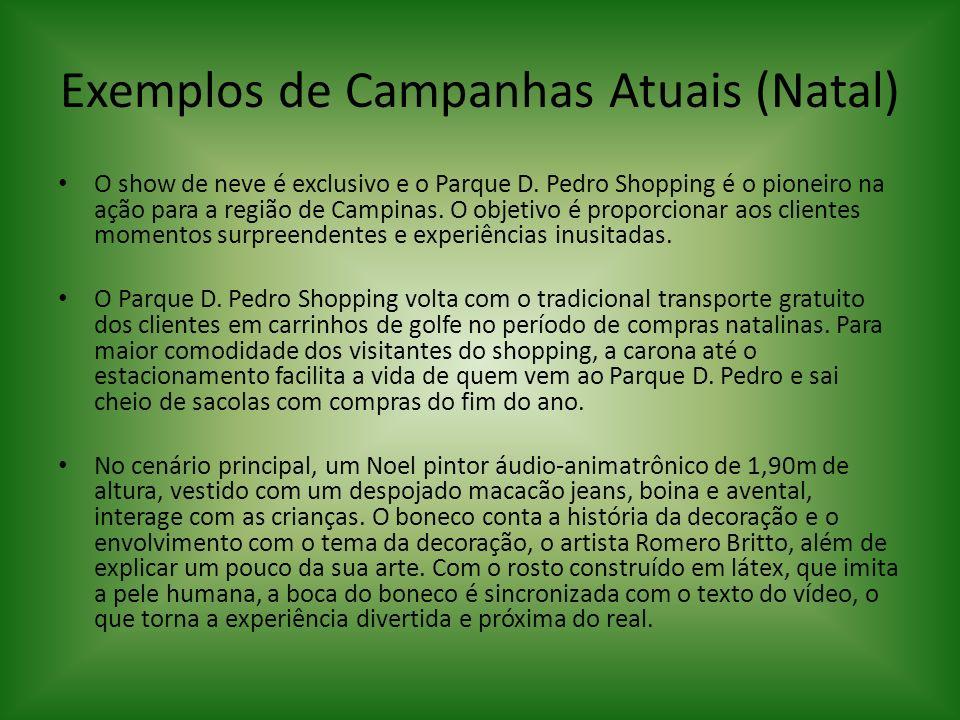 Exemplos de Campanhas Atuais (Natal) O show de neve é exclusivo e o Parque D. Pedro Shopping é o pioneiro na ação para a região de Campinas. O objetiv