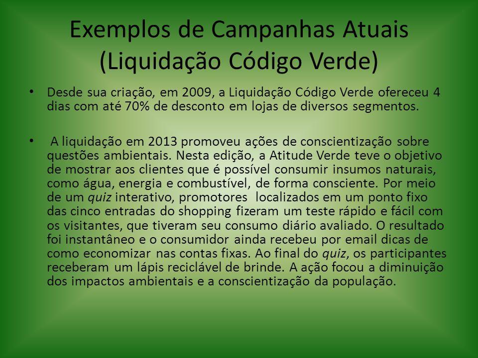 Exemplos de Campanhas Atuais (Liquidação Código Verde) Desde sua criação, em 2009, a Liquidação Código Verde ofereceu 4 dias com até 70% de desconto e