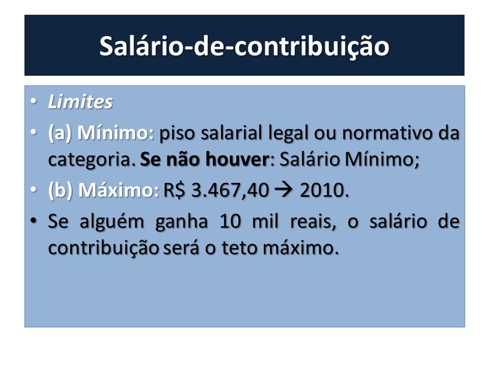 Salário-de-contribuição Limites Limites (a) Mínimo: piso salarial legal ou normativo da categoria. Se não houver: Salário Mínimo; (a) Mínimo: piso sal
