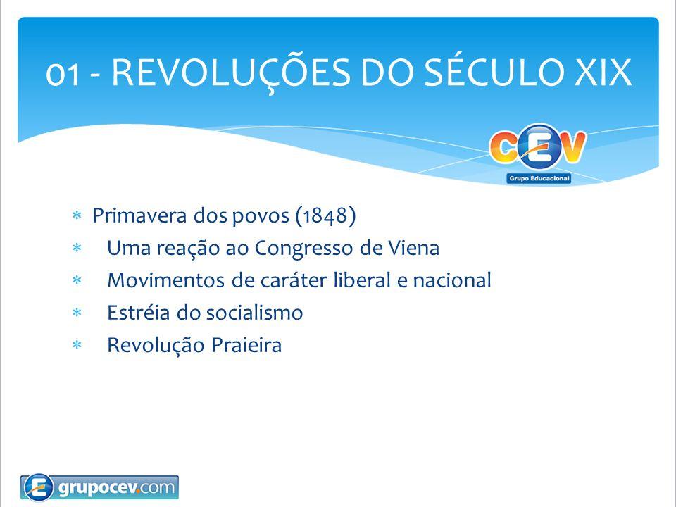 Primavera dos povos (1848) Uma reação ao Congresso de Viena Movimentos de caráter liberal e nacional Estréia do socialismo Revolução Praieira 01 - REV