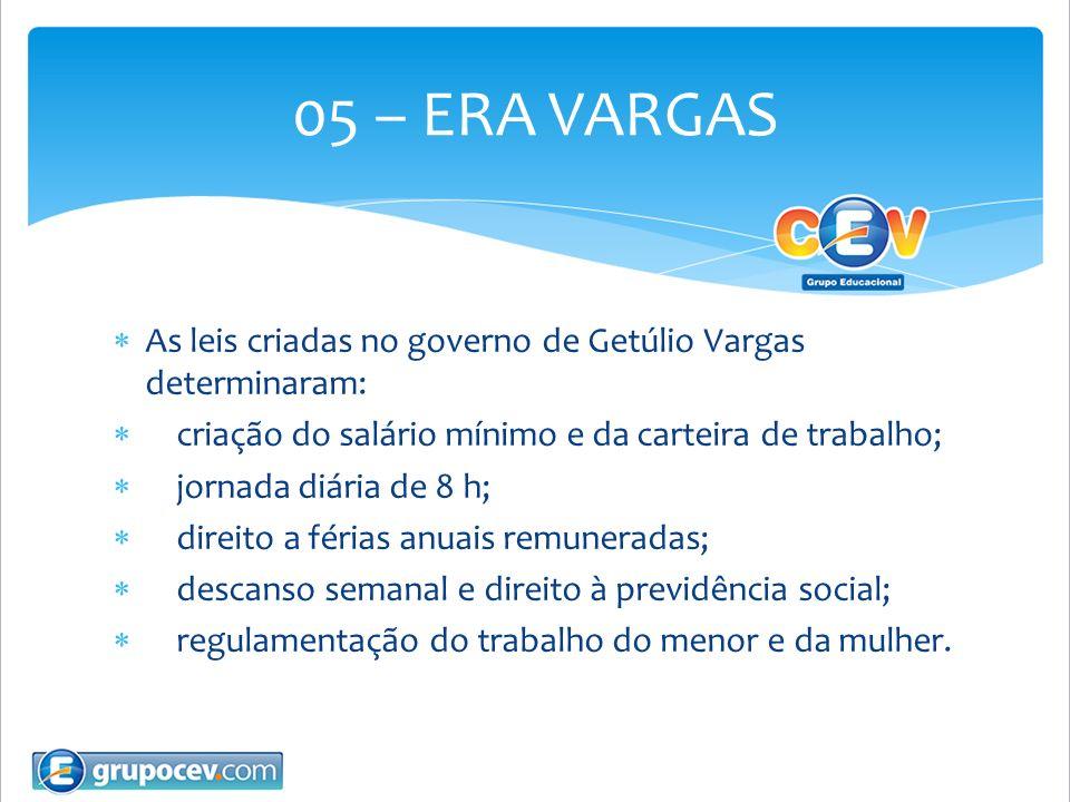 As leis criadas no governo de Getúlio Vargas determinaram: criação do salário mínimo e da carteira de trabalho; jornada diária de 8 h; direito a féria