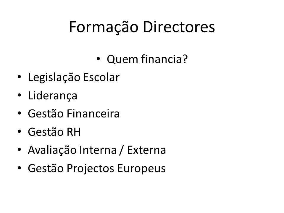 Formação Directores Quem financia? Legislação Escolar Liderança Gestão Financeira Gestão RH Avaliação Interna / Externa Gestão Projectos Europeus