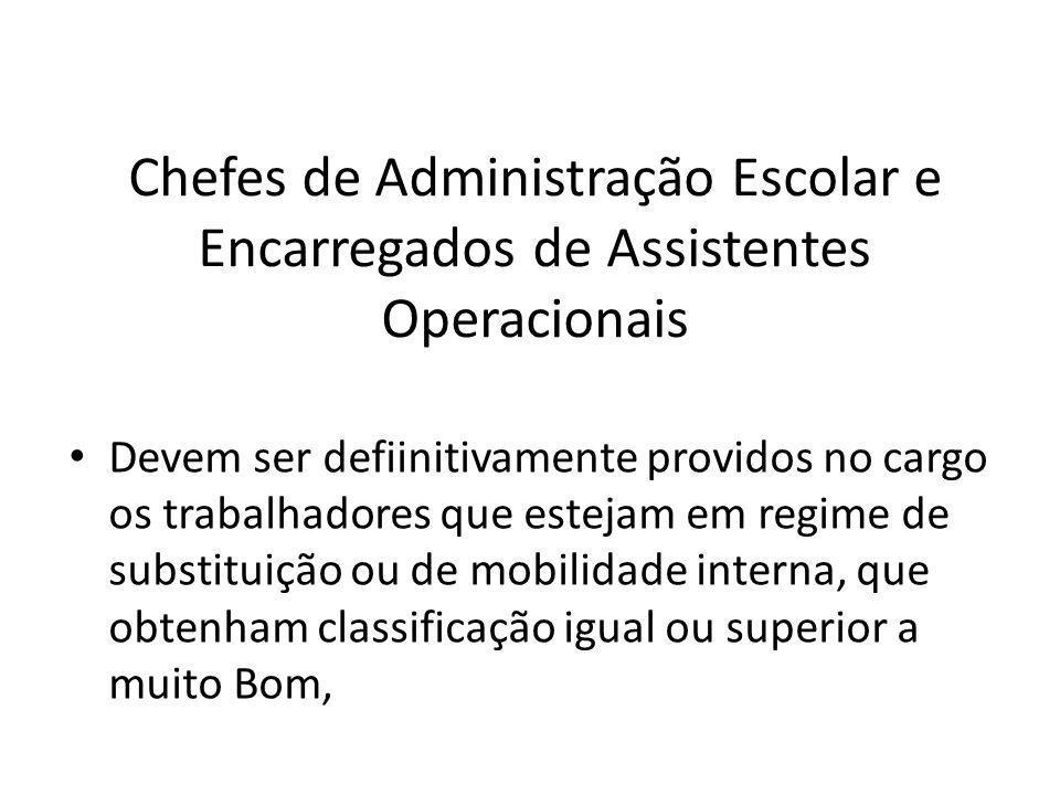 Chefes de Administração Escolar e Encarregados de Assistentes Operacionais Devem ser defiinitivamente providos no cargo os trabalhadores que estejam e