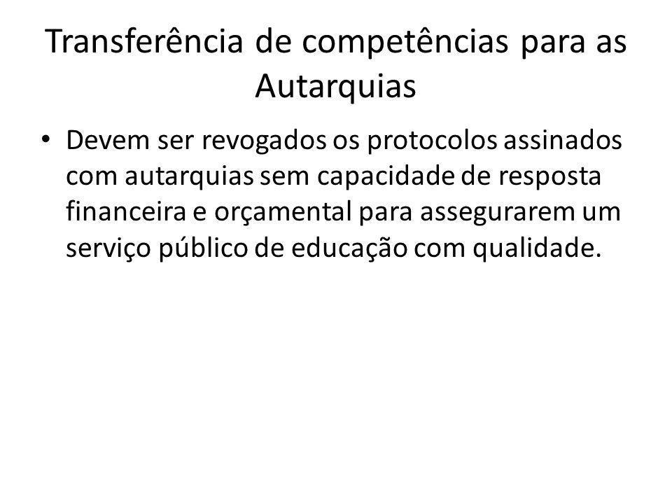 Transferência de competências para as Autarquias Devem ser revogados os protocolos assinados com autarquias sem capacidade de resposta financeira e orçamental para assegurarem um serviço público de educação com qualidade.