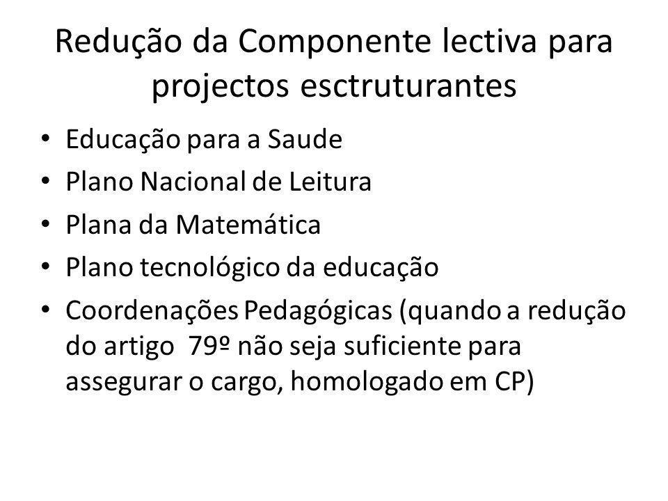 Redução da Componente lectiva para projectos esctruturantes Educação para a Saude Plano Nacional de Leitura Plana da Matemática Plano tecnológico da educação Coordenações Pedagógicas (quando a redução do artigo 79º não seja suficiente para assegurar o cargo, homologado em CP)