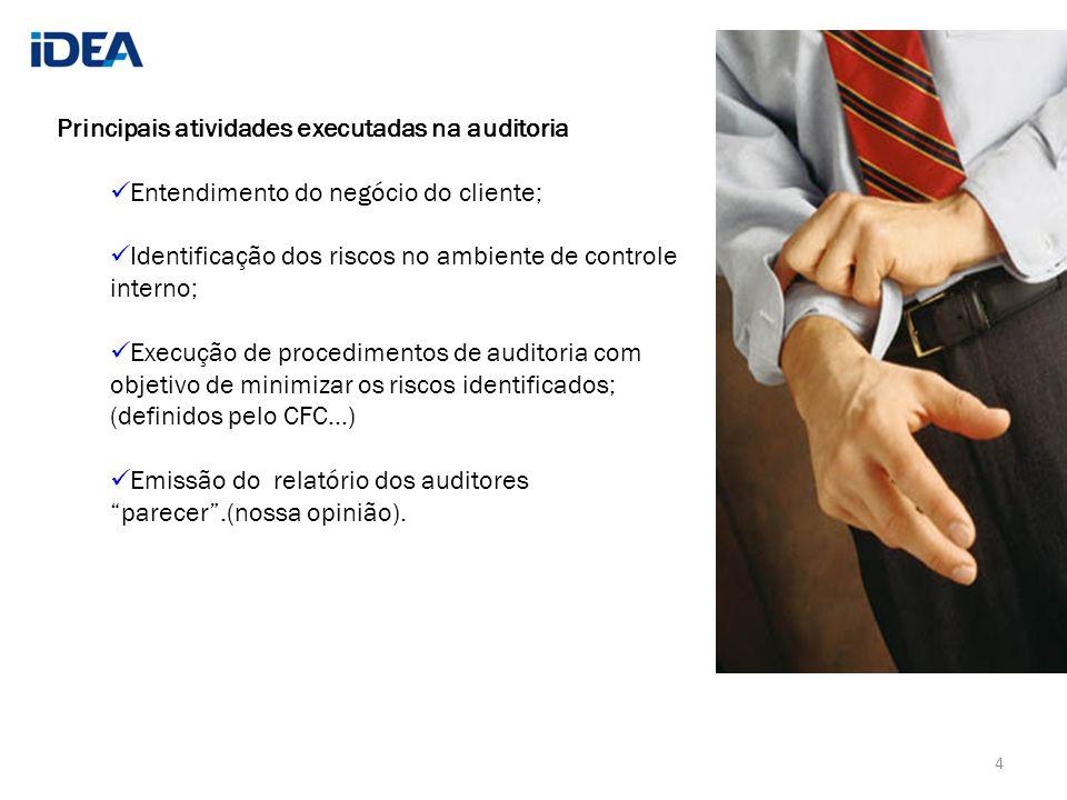 Principais atividades executadas na auditoria Entendimento do negócio do cliente; Identificação dos riscos no ambiente de controle interno; Execução d
