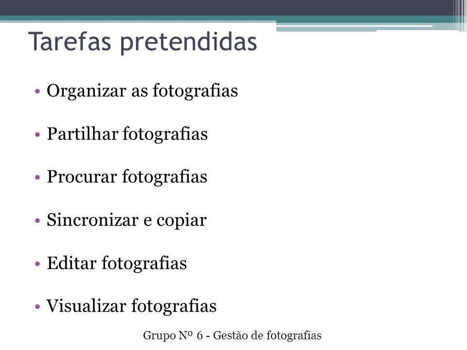 Tarefas pretendidas Organizar as fotografias Partilhar fotografias Procurar fotografias Sincronizar e copiar Editar fotografias Visualizar fotografias Grupo Nº 6 - Gestão de fotografias