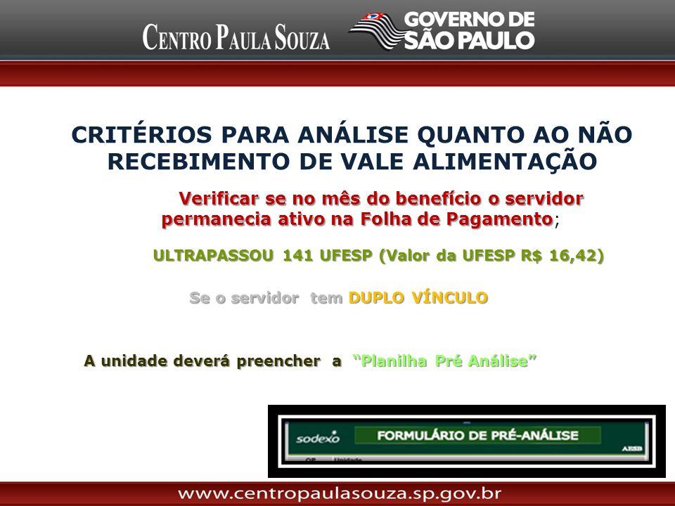 CRITÉRIOS PARA ANÁLISE QUANTO AO NÃO RECEBIMENTO DE VALE ALIMENTAÇÃO Verificar se no mês do benefício o servidor permanecia ativo na Folha de Pagament