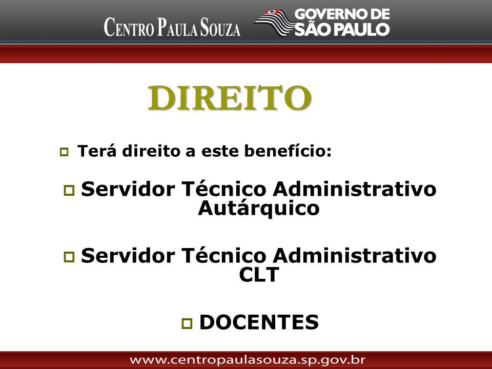 DIREITO Terá direito a este benefício: Servidor Técnico Administrativo Autárquico Servidor Técnico Administrativo CLT DOCENTES